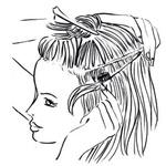V kompletu so običajno tri 'zavesice' las, zato postopek ponovi še na levi in desni strani glave. Če so lasje predolgi, jih nekoliko postrizi – zadnji trend je, da so vsi lasje iste dolžine, in ne striženi v V-linijo. (foto: Jeffrey Westbrook/Studio D, Arthur Belebeau, Ilustracije: Stuart Mckenzie/eyecandy.co.uk)