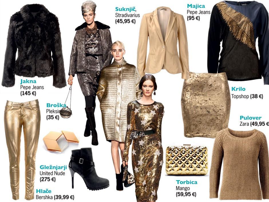 Golden girls: Če v omari še nimaš zlatega kosa oblačila, je zdaj čas, da ga izbereš (foto: All about fashion,  Aleksander Štokelj)