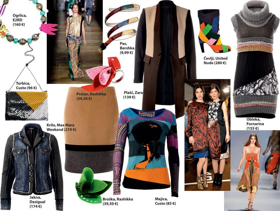 Modni kolaž barv, materialov in vzorcev (foto: All-About-Fashion, Aleksander Štokelj)