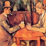 Igralci kart (1892/93) 97 cm × 130 cm – Poul Cézanne. Prodana je bila leta 2011, in sicer katarski kraljevi družini za 195,5 milijona evrov. Olje na platnu je ena izmed petih slik v seriji, ki jih je narisal francoski provansalski postimpresionistični umetnik Poul Cezanne. Slika prikazuje provansalska kmeta, zatopljena v igranje kart. Cezanne je adaptiral motiv francoskih in nizozemski žanrskih slik iz 17. stoletja, ki so prikazovale neotesane, pijane in okajene kockarje v zakotnih beznicah. (foto: Lisa)