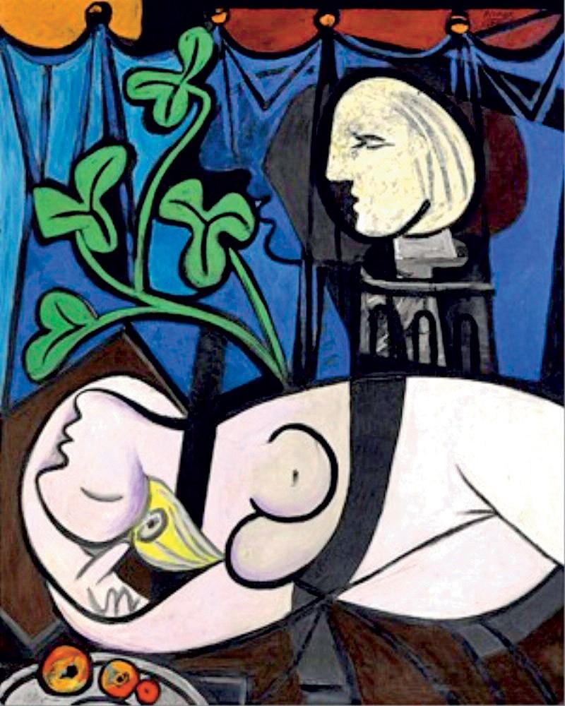 Nude, Green Leaves and Bust (1932) 162 cm × 130 cm – Pablo Picasso. Slika je bila leta 2010 prodana neznanemu kupcu za 83 milijonov evrov. Senzualno in barvito olje na platnu enega največjih umetnikov 20. stoletja je en izmed serije portretov njegove ljubice in muze Marie-Thérèse Walter. (foto: Lisa)