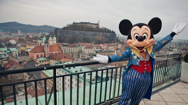 Miki Miška prvič obiskal Ljubljano
