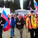 Najbolj zvesti navijači Tine Maze s Črne na Koroškem (foto: Goran Antley)