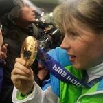 Sprejem dela slovenske olimpijske odprave na Brniku  (foto: Goran Antley)
