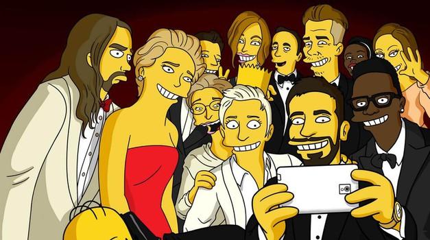 Homerjeva parodija na najbolj všečkan, retvitan in favoritan selfie vseh časov (zaenkrat)  (foto: profimedia)