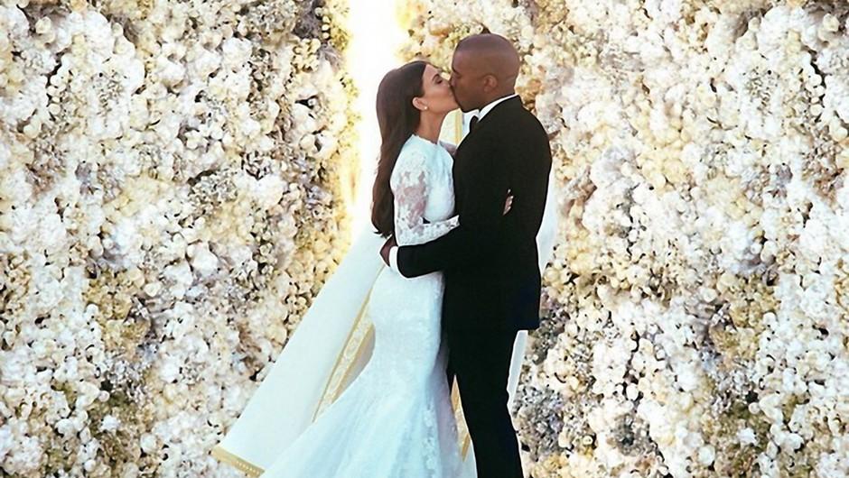 Pravkar poročena Kim Kardashian in Kanye West (foto: profimedia)