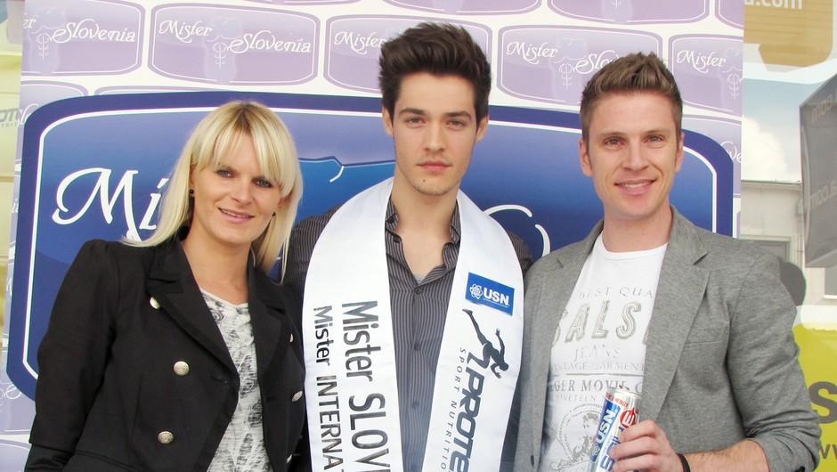 Mister Slovenije 2014 Mitja Nadižar in organizatorja projekta Erik Ferfolja in Nina Uršič