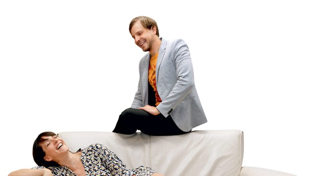 Kavč d.o.o. s Tino Torelli in igralcem Aljažem Jovanovičem (foto: Helena Kermelj)