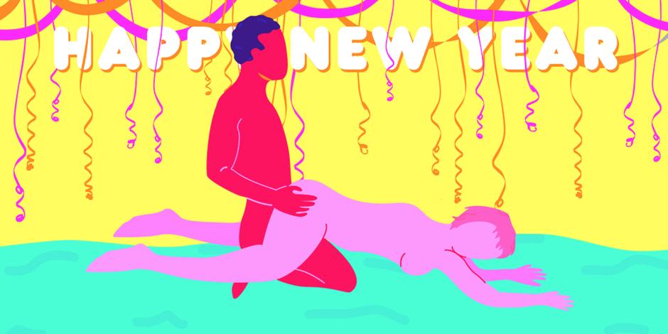 """5 """"srečno 2018"""" seks položajev za vrhunski začetek novega leta (foto: Ilustracije: Marcy Gooberman)"""